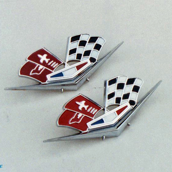 Chevy Fender Crossed Flags Emblems, 327 ci & 409 ci, Best, 1962-1963