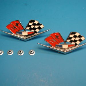 Chevy Fender Crossed Flags Emblems, 327 ci & 409 ci, Replacement, 1962-1963