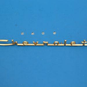 Chevy Trunk Script, V8, BelAir, Gold, Best, 1957